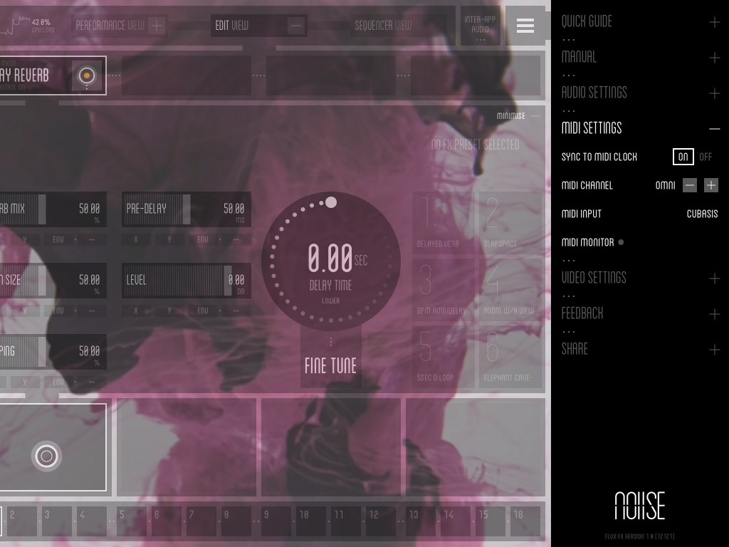 The main menu provides access to a range of settings including, as shown here, the MIDI settings.