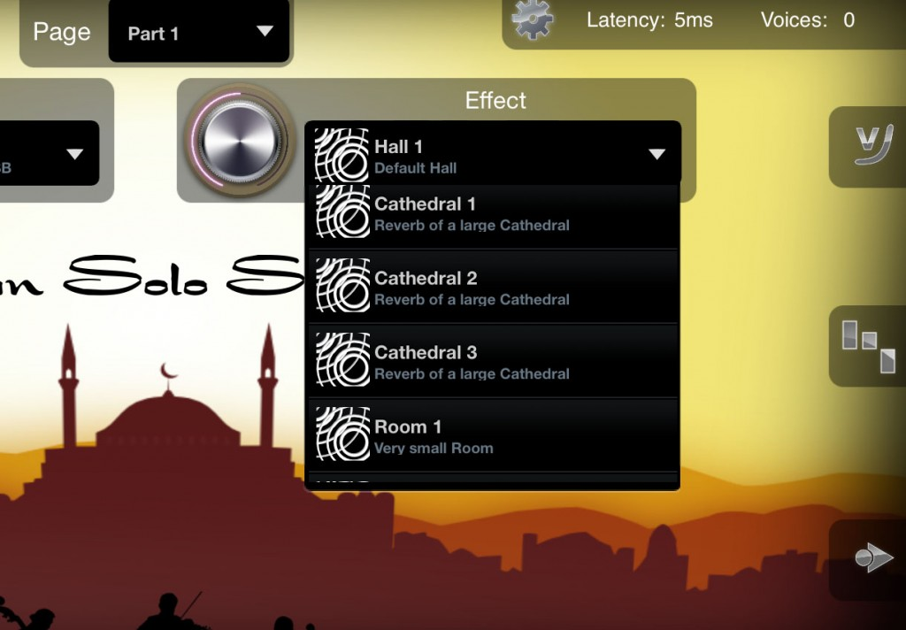 Oriental Strings includes all the same features as iSymphonic Orchestra, including the various reverb options that can be applied.