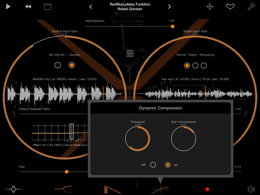 The compressor is useful for keeping audio peaks generated by the processing under control.