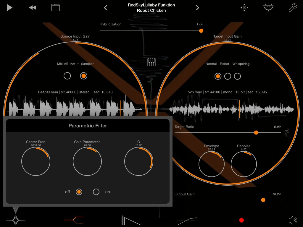 Sparkle includes a series of post-processing effects including a parametric EQ.