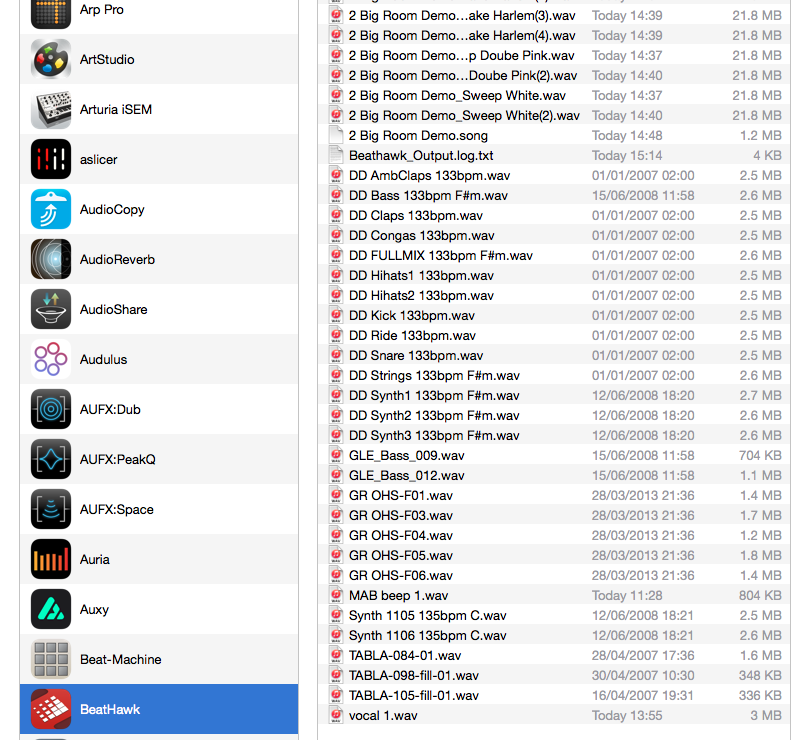 Both for import and export of audio (or MIDI) with BeatHawk, iTunes File Sharing works very smoothly.