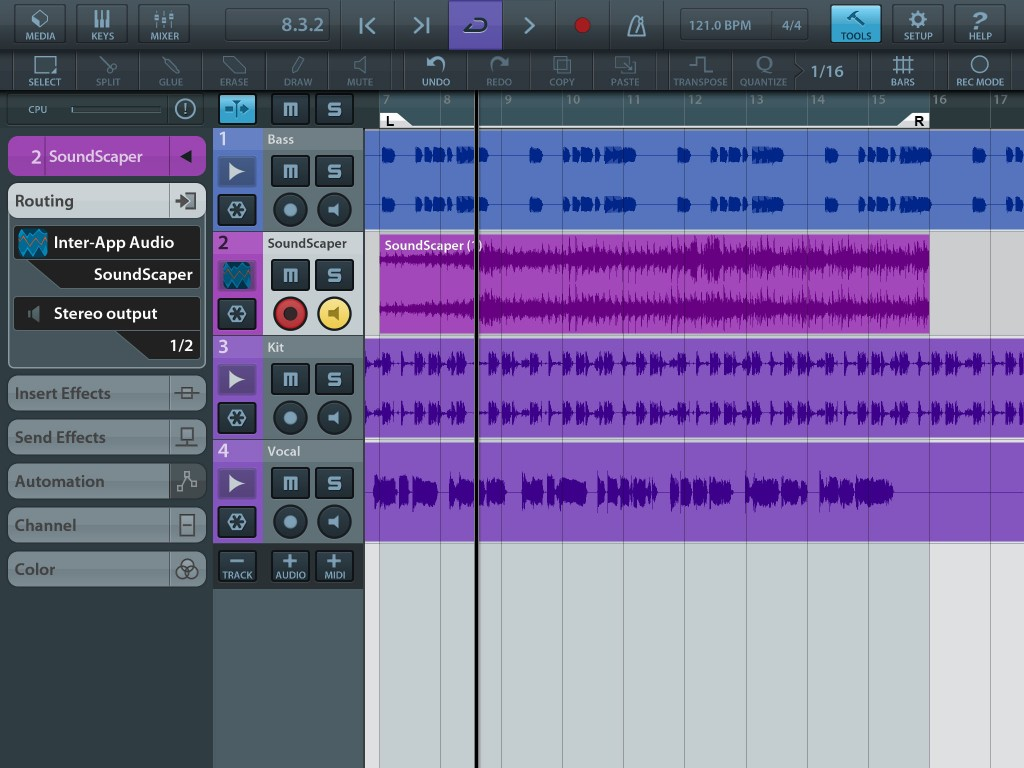 SoundScaper also worked smoothly via IAA within Cubasis.