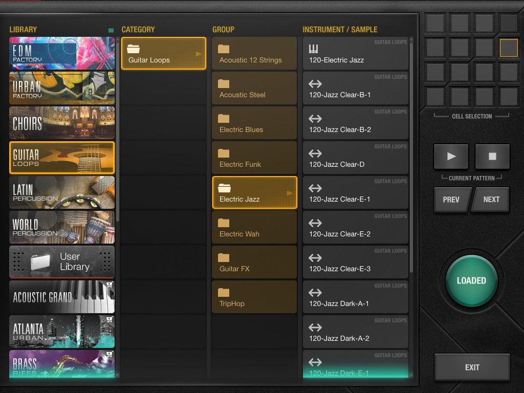 Samples are organised into a number of different categories and include drum hits, loops and instrument sounds.