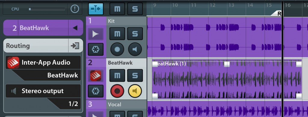 Recording Beathawk's output into Cubasis worked fine...  but sync and transport controls via IAA would be nice to see at some stage....