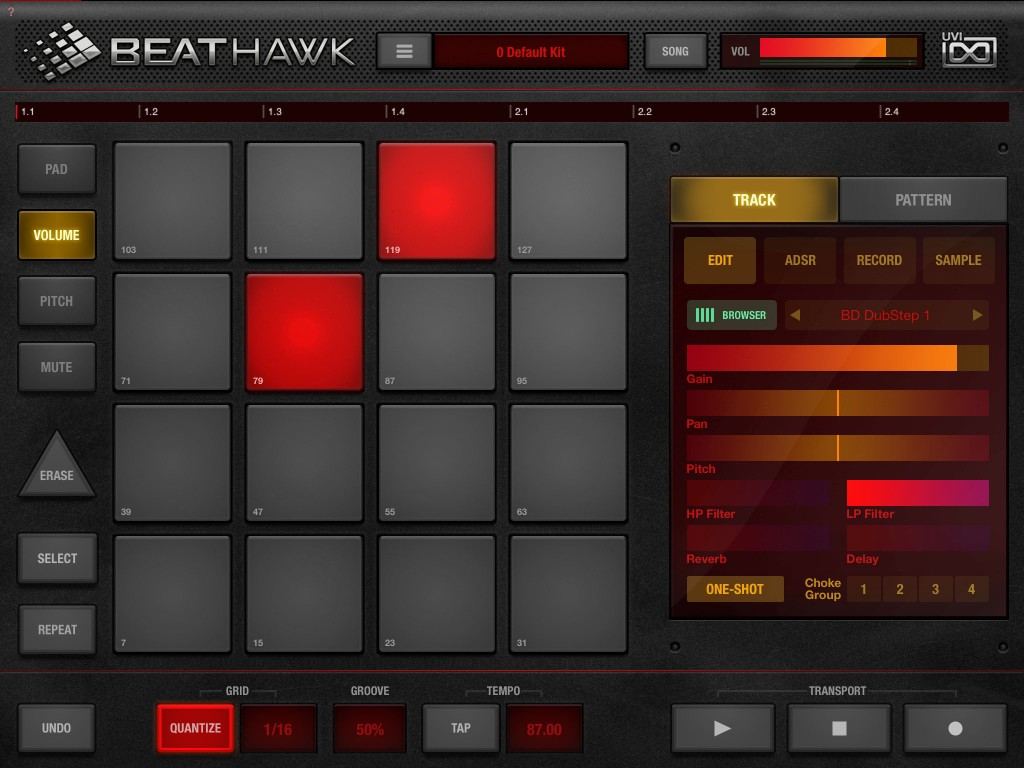 BeatHawk's Volume pads allow you to program in MIDI velocity data even if you have not got an external MIDI keyboard available.