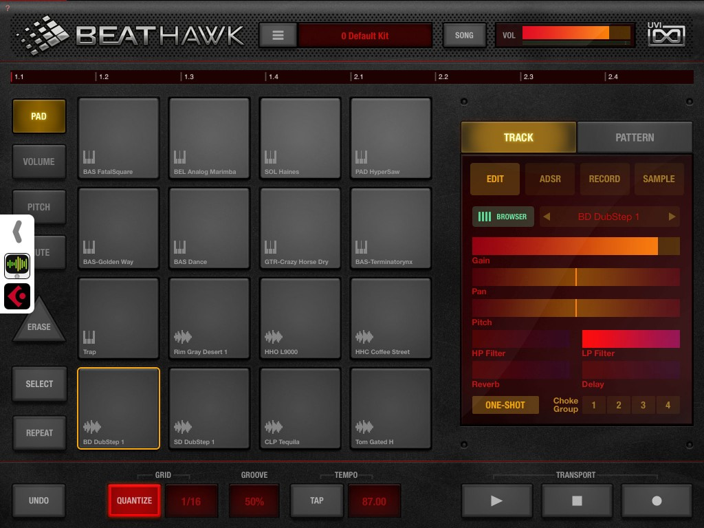 BeatHawk provides a very caopable stand-alone music production environment... but Audiobus support is included if you want to use the app alongside other iOS music apps.
