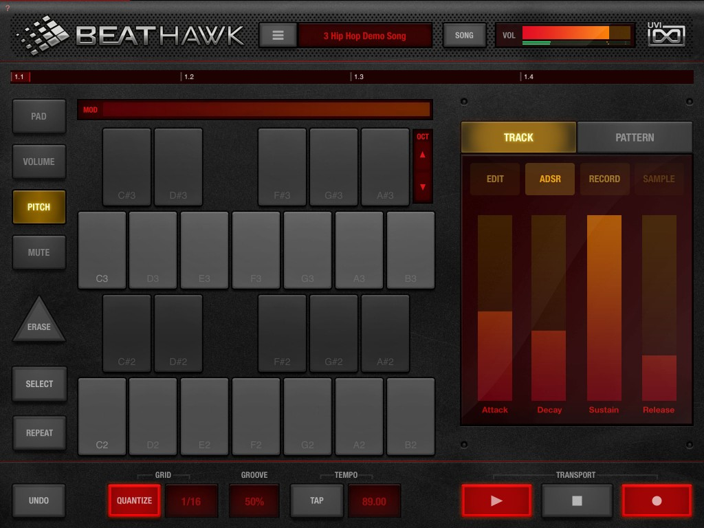 The Pitch mode allows you to play the sample on a particular pad as a melodic instrument.