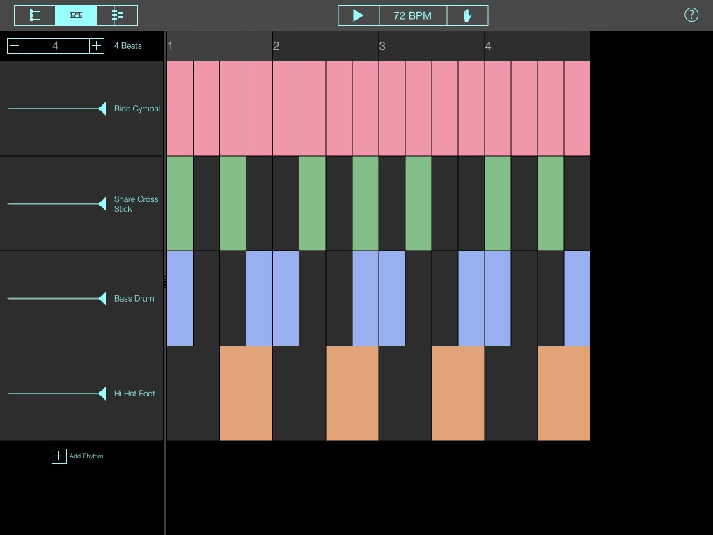 You can edit all aspects of the patterns, from the number of instruments used to the number of beats/steps....