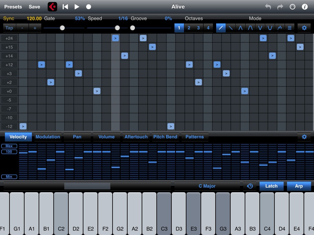 StepPolyArp - a flexible and well-featured arpeggiator for the iOS musician.