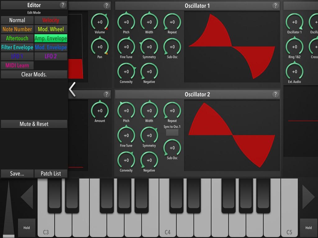 The modulation options can be configured via a pop-out panel on the left-edge of the screen...  but there is plenty of scope here for manipulation your sounds.