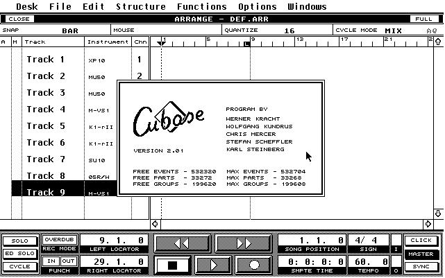 An early version of Cubase - MIDI only and, by today's standards - somewhat basic. Don't complain out our current generation of iOS DAWs/sequencers unless you have tried making music with this :-)