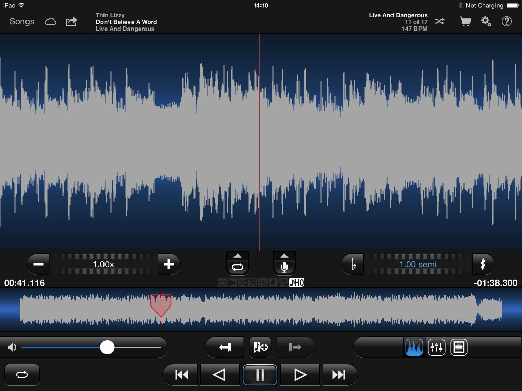 Anytune Pro+ running under iOS - a great practice tool for any musician.