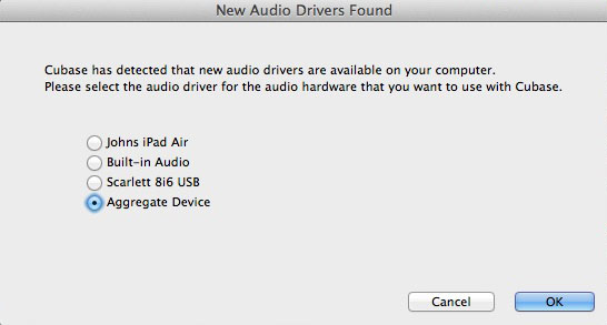 Cubase allowed me to select the aggregate device as my audio driver.