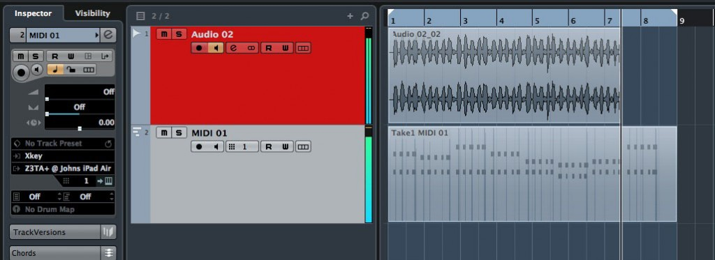 Here, MIDI data is being send to my iPad via Midimux while, at the same time, the audio that results from the MIDI reaching Z3TA+ is being recorded back to Cubase via Audiomxu; very neat!