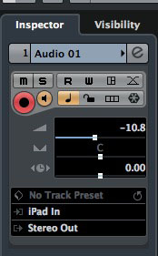 My iPad could then be selected as an audio source for an audio track within Cubase under OSX.