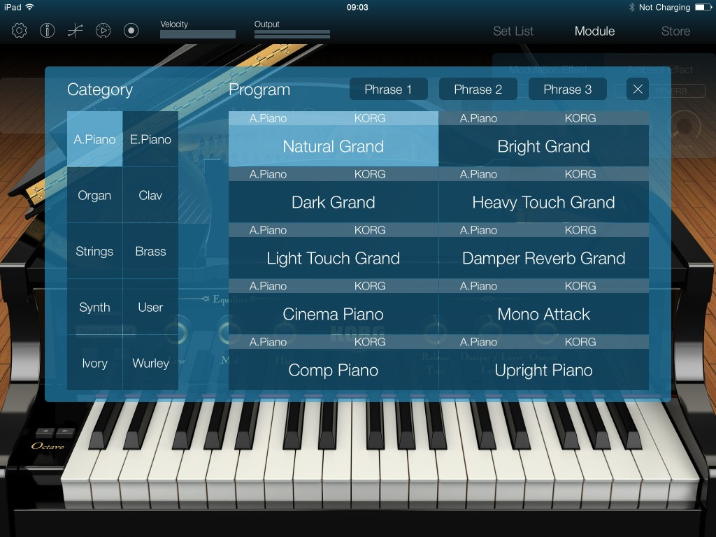 Module's sound set is focused on pianos but there are other sounds included and they all sound very good indeed.