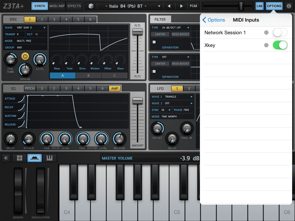 Z3TA+ showing both the CME Xkey keyboard and Network MIDI as possible MIDI sources.