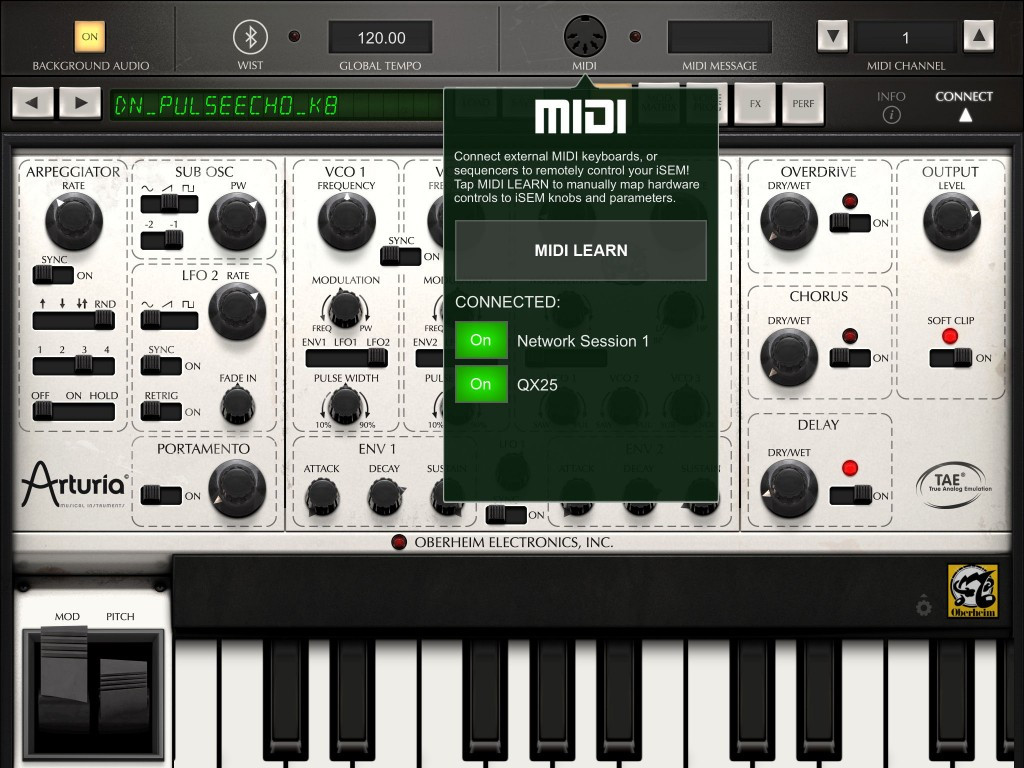 Ohh look...  a big 'MIDI Learn' button. When it comes to using an external controller to tweak your synth parameters, as shown here for iSEM, this is a very good thing to see :-)