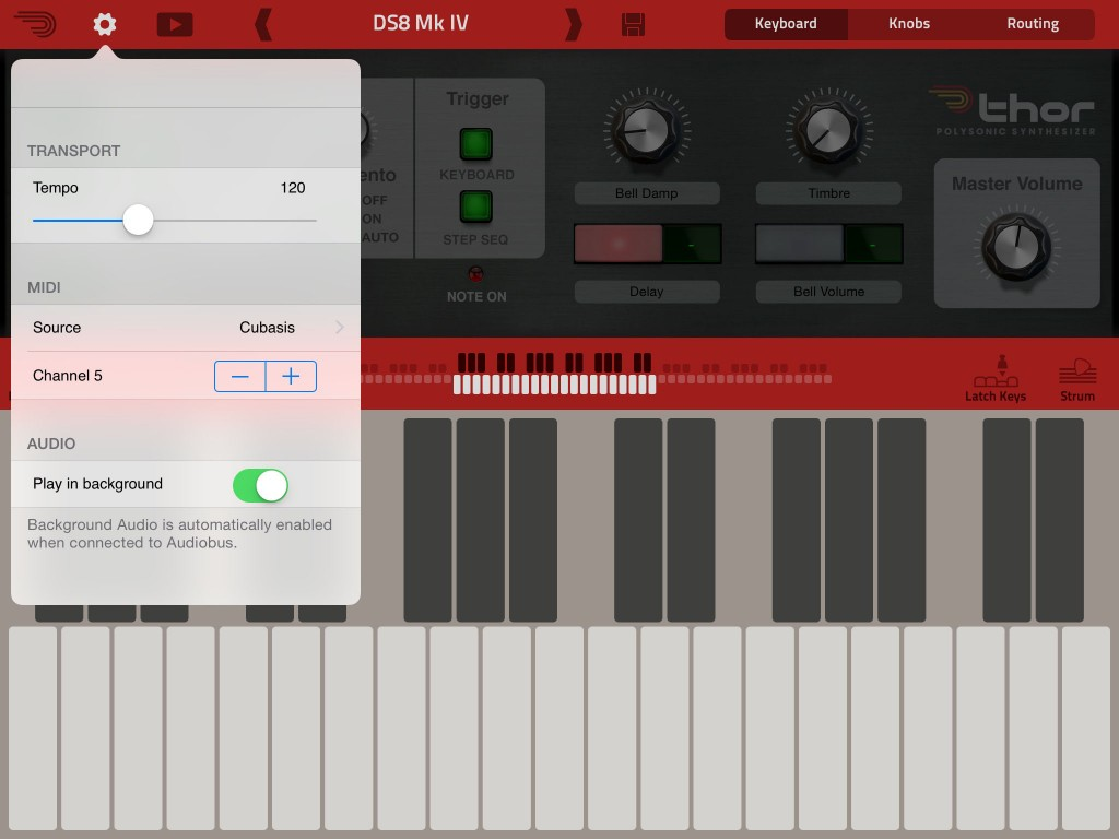 Thor's menu offers the ability to select both MIDI port and MIDI channel.