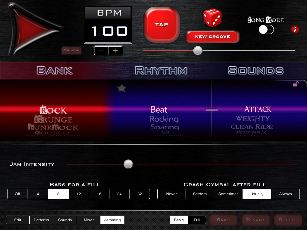 In Live Mode you can also randomise the use of the crash cymbal.