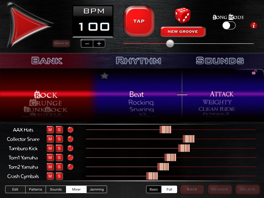 The Mixer now gives you additional options to set the levels of the various drum kit elements.