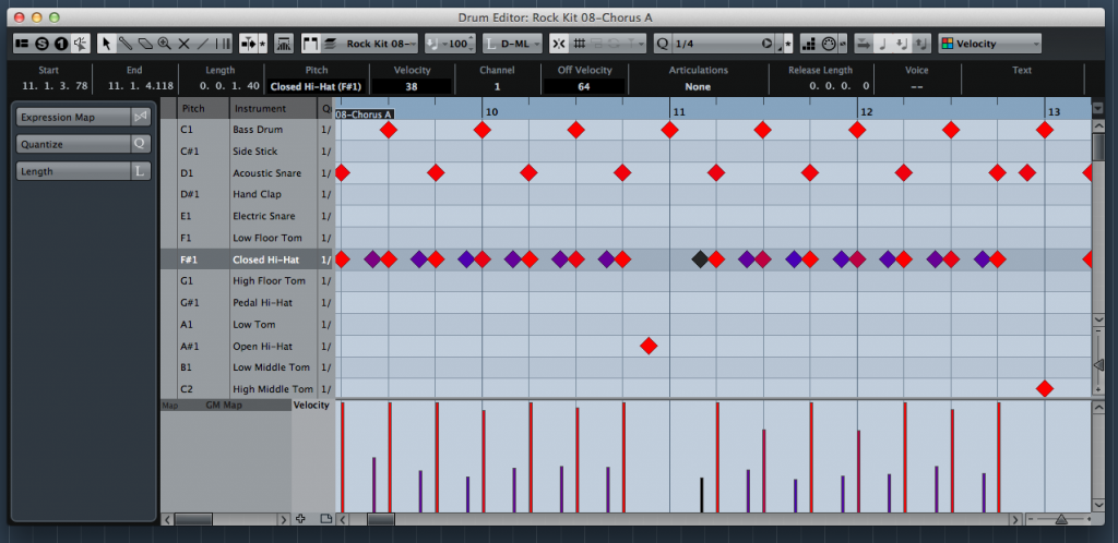 Many desktop DAWs also have dedicated MIDI editing tools for drum parts.