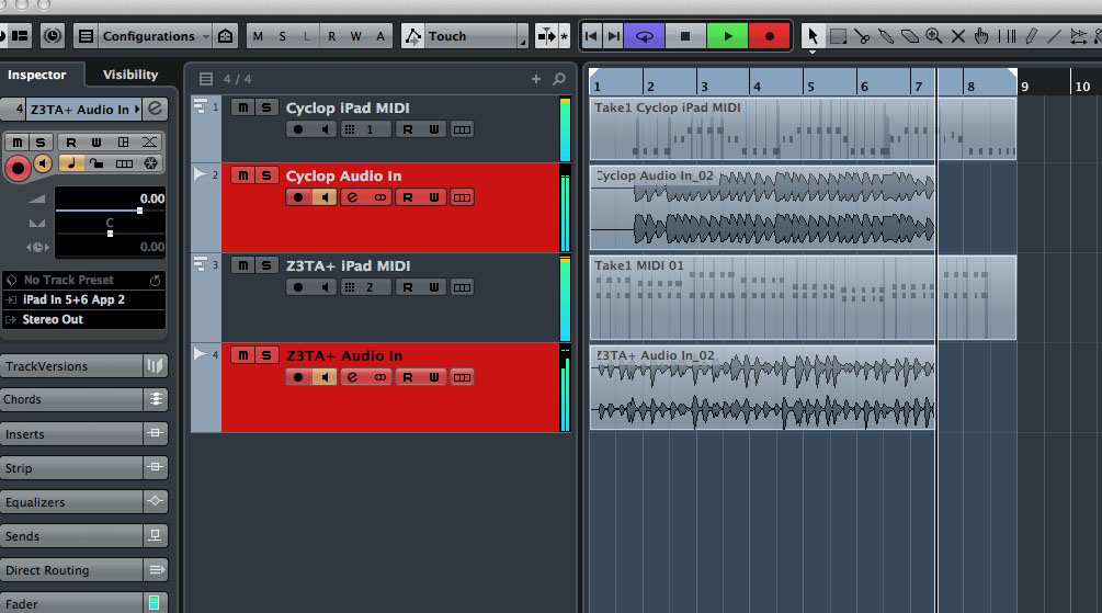 I was easily able to send MIDI data out to my two iOS test apps from Cubase and record the audio returned from them to two separate tracks within Cubase.