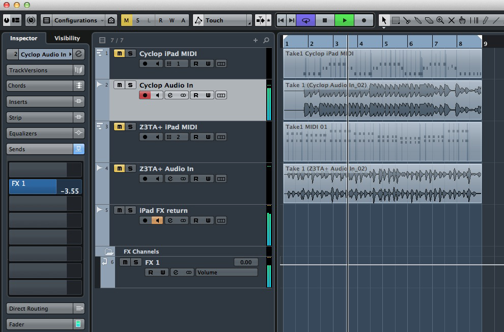 AS described in the main text, the routing was a bit clunky in Cubase but it worked fine.