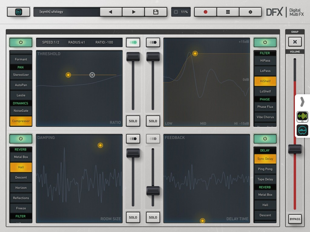 DFX provided some fun multi-effects processing that could be applied to audio recorded within Cubase on my iMac.