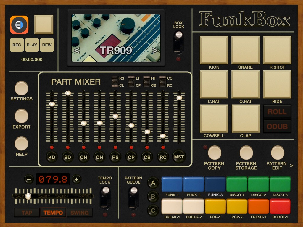 FunkBox - a classic drum machine vibe in an iOS app.