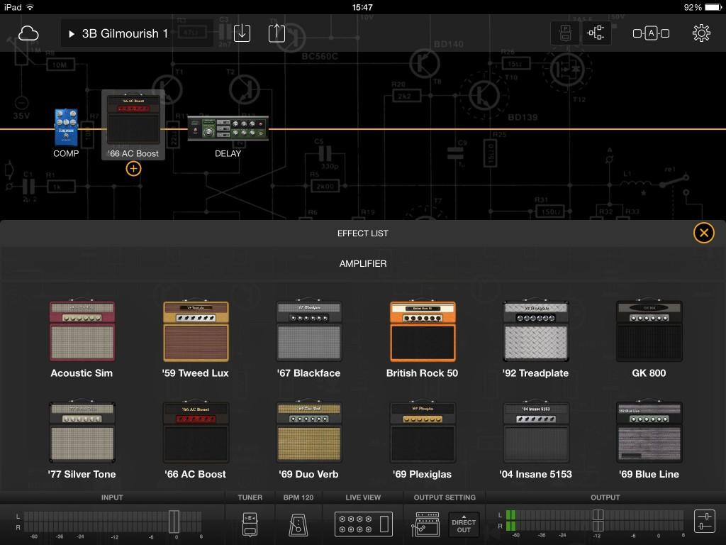 A dozen different amp models are included within the app.