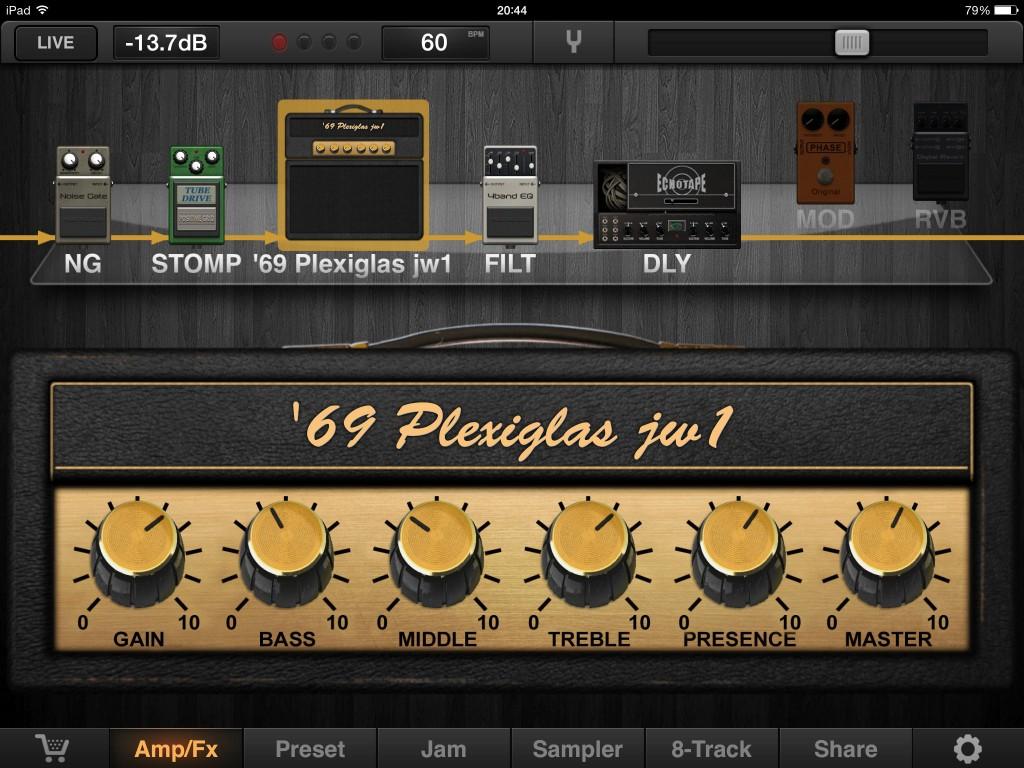 JamUp Pro's main user interface....
