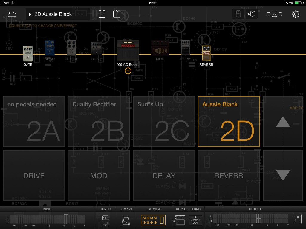 BIAS FX includes a 'Live View' mode for easy patch selection and switching key effects on/off.
