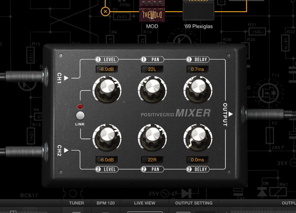 The Mixer allows you to balance your dual signal chains to suit.
