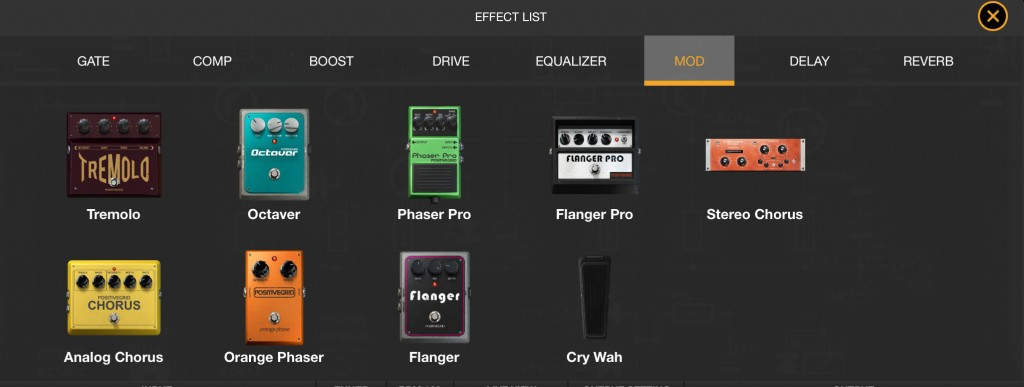 Each effect groups offers you a selection of different stomp box or rack effects.