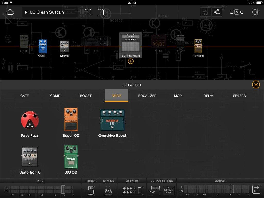 The app is supplied with a range or stomp box and rack effects options.