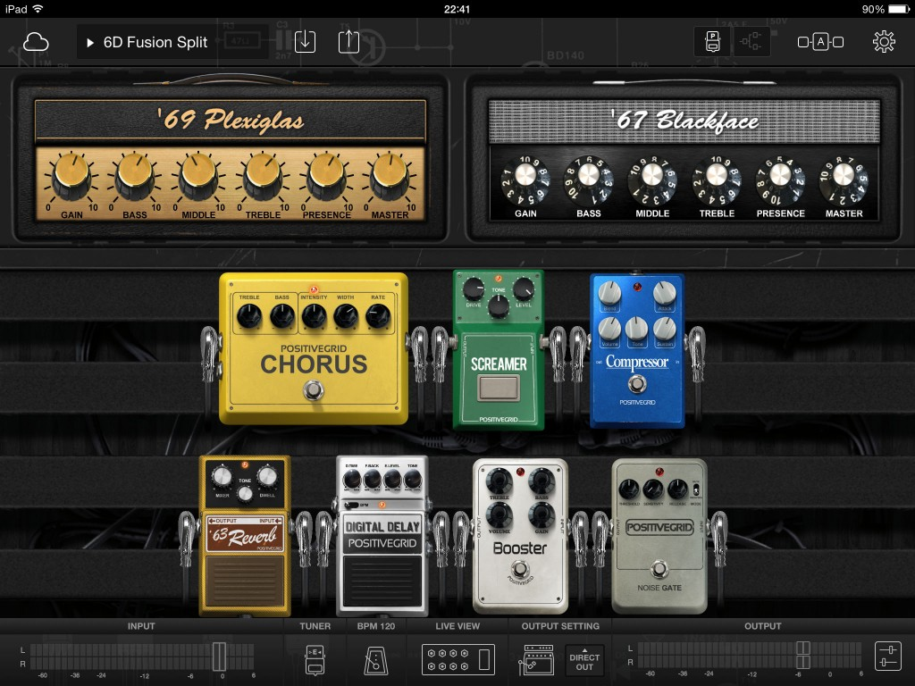 The pedalboard view gives you easy access to all your amp and effects controls within a single screen.
