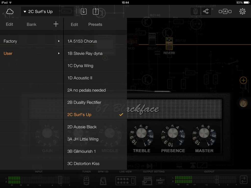 Thew preset system is well organised and makes it easy to configure your various patches.
