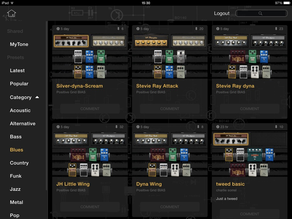 The ToneCloud system means there are plenty of user presets already available for the app.