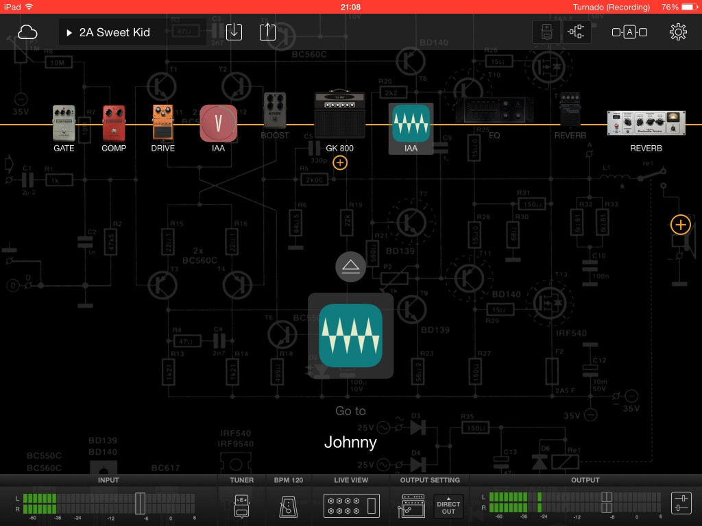 You can position your IAA apps anywhere within the signal chain and multiple apps are also allowed.