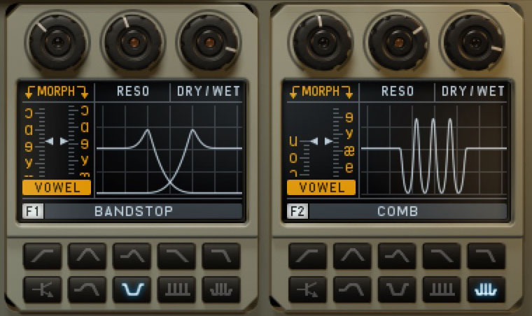 The two filter units include vowel options so you can add a 'vocal' element to your sounds.