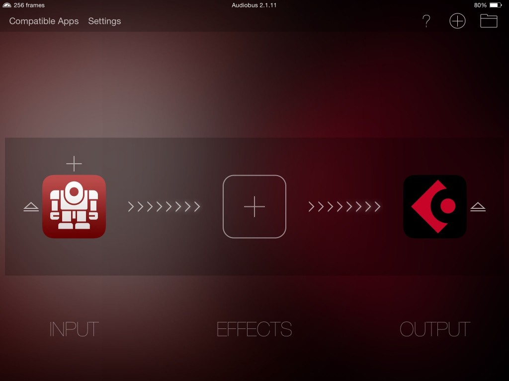 Cyclop played nicely with Audiobus using my iPad Air 1 iOS8.3 test system.