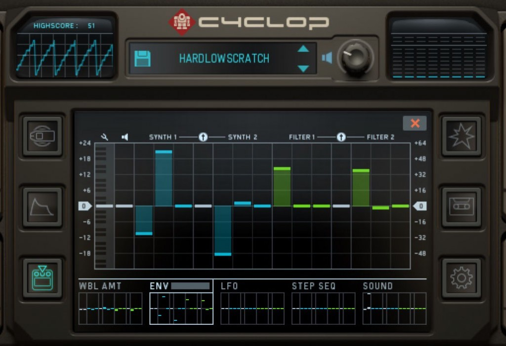 Cyclop offers five modulation sources and 14 modulation destinations.