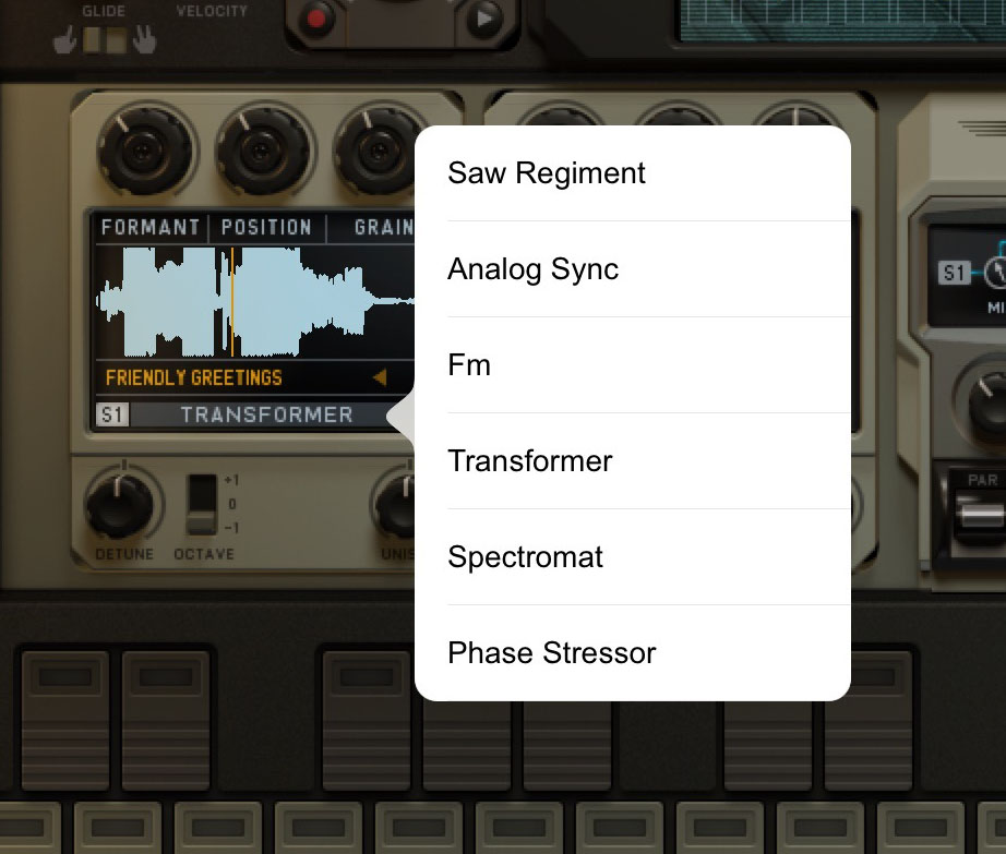 Each of the two synth engine units has six different synth styles available to choose between.