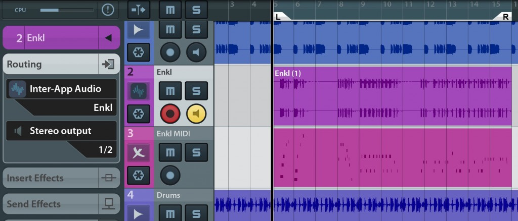 Enkl worked very smoothly via IAA when using Cubasis as my IAA host, both inserted on an audio track and a MIDI track.