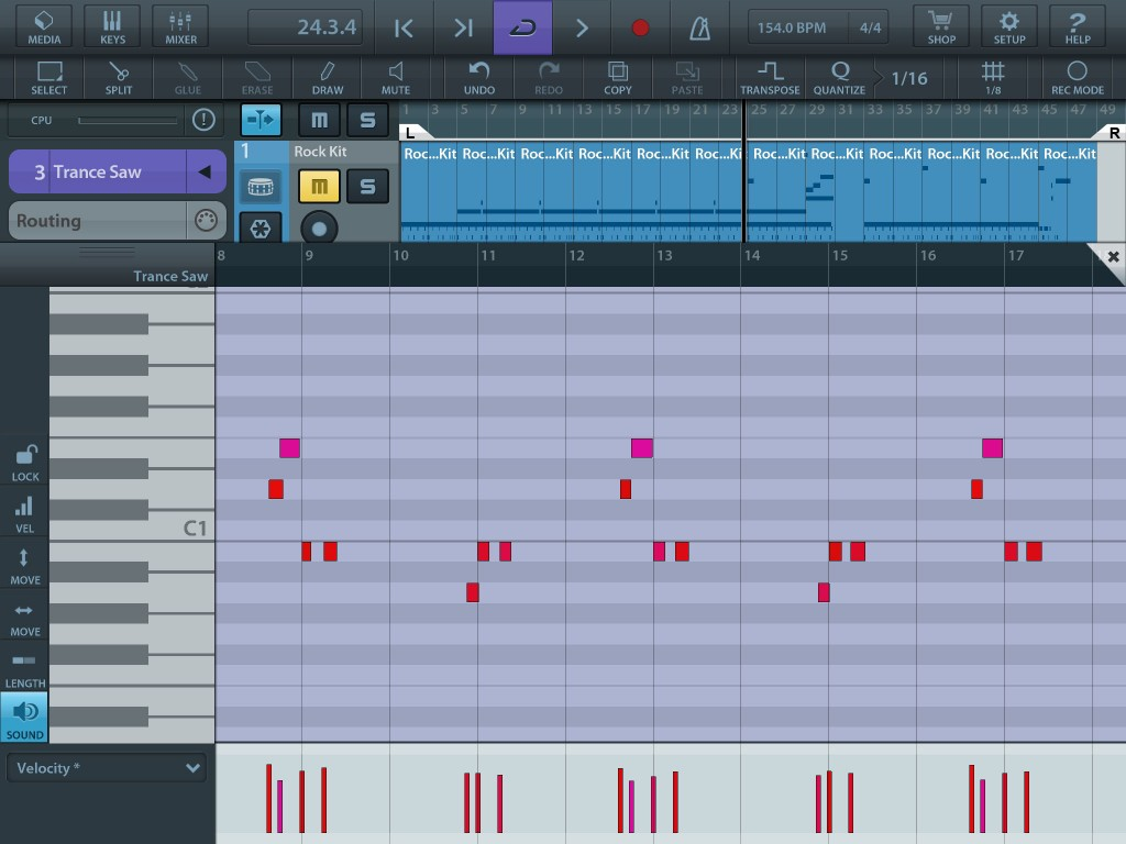Cubasis features a very respectable piano roll style editor for working with MIDI parts.