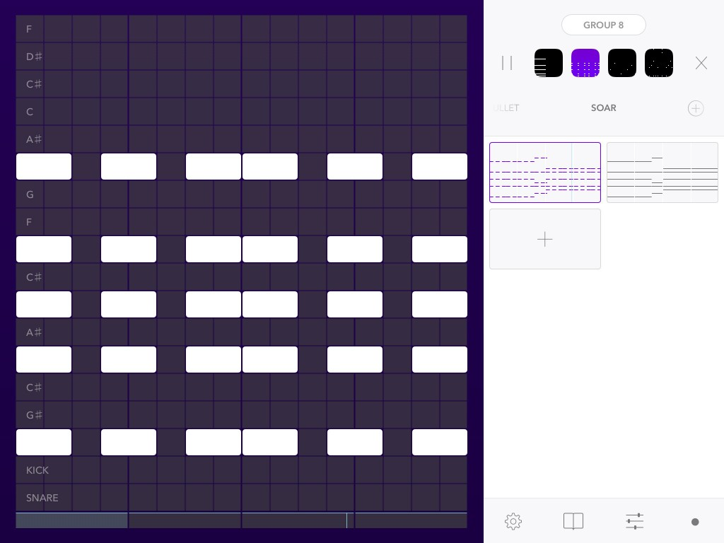 The Beatwave grid can be used to create drum patterns, bass lines, melody parts of chord parts.