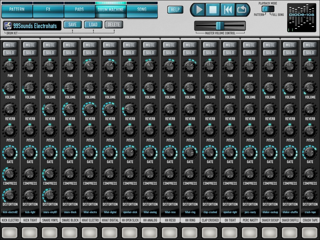 The Drum Machine screen gives you access to Diode's mixing features.