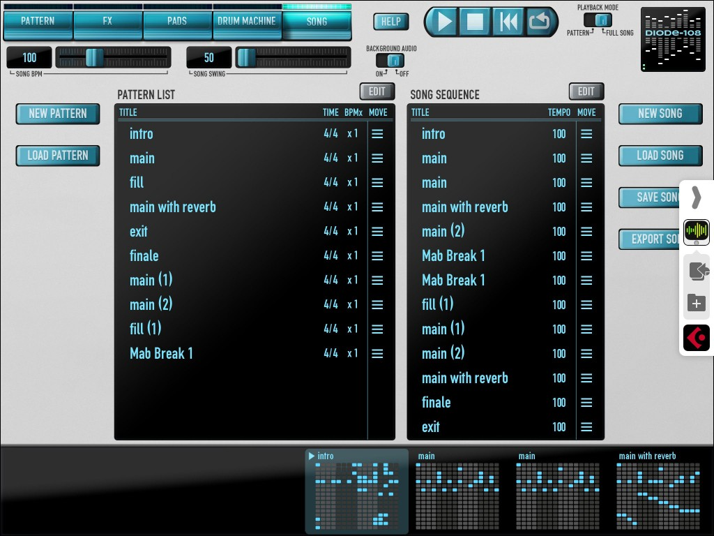 Diode's Song screen allows you to create/copy/delete patterns and also to chain those patterns into a song format.