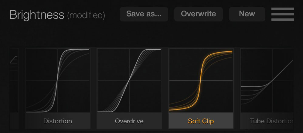 Flection includes some 30+ preset 'waveshapes' for you to experiment with.